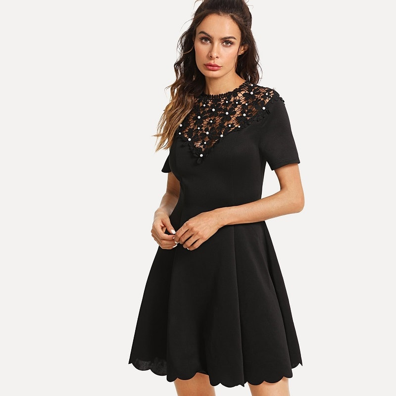 Black Guipure Lace Yoke Scalloped Hem Dress