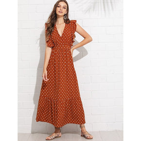 Rust Ruffle Trim Polka Dot Dress