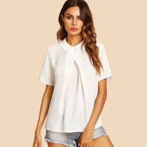 White Overlap Fold Detail Top