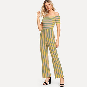 This is off-shoulder multi-stripe jumpsuit for online - madrushfahion.com