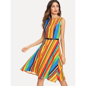Multicolor Rainbow Stripe Tank Dress