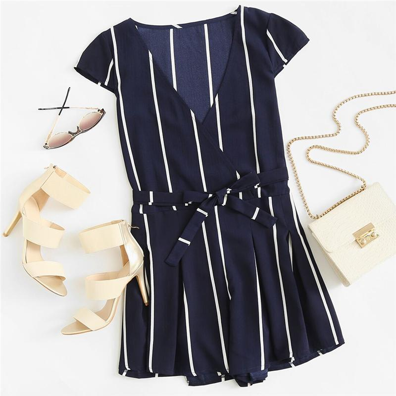 Vertical Striped Surplice Romper With Belt