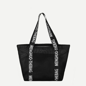 Black Letter Pattern Decor Mesh Handbag