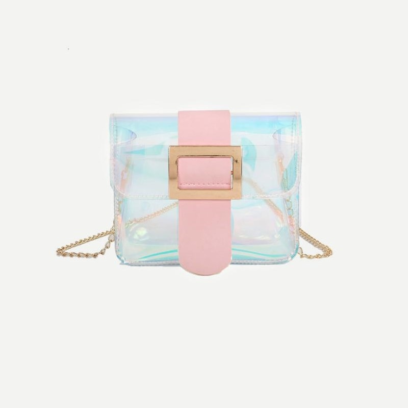 Multicolor Iridescent Detail Buckle Chain Bag