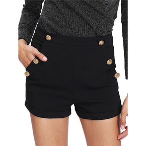 Black Gold Button Detail Shorts