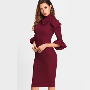 Burgundy Bow Detail Trumpet Sleeve Dress