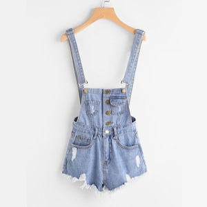 Blue Button Front Ripped Denim Overalls
