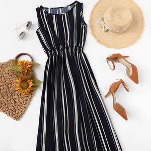 Multicolor Barcode Stripe Elastic Waist Dress