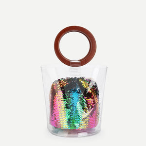 Clear Wood Handle Bag With Sequin Pouch