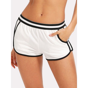 White Striped Waist Dolphin Shorts