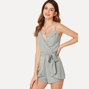 Grey cami romper with a deep neck is your perfect summer outfit for the day - madrushfahion.com