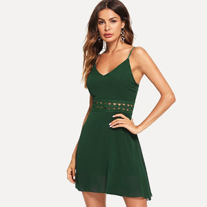 Green deep neck lace dress online for women - madrushfashion.com