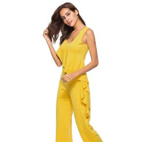 Yellow ruffle neck palazzo jumpsuits for women online - madrushfahion.com
