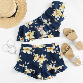 Navy Flower Print One Shoulder Crop Top And Shorts Set