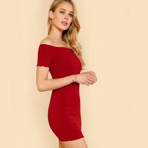 Red bodycon off shoulder dress for women online - madrushfashion.com