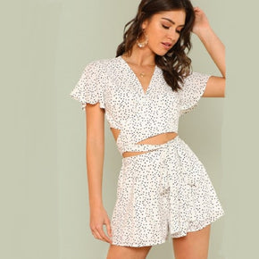 White Flutter Sleeve Knot Wrap Top & Shorts Set