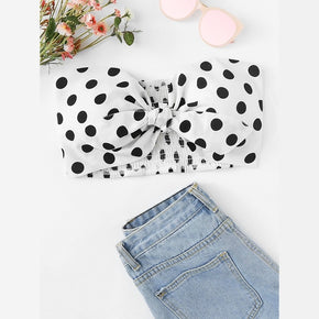Polka Dot Knot Detail Pleated Back Spot Tube Top