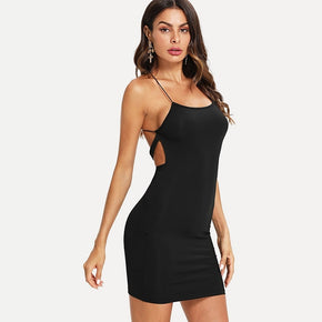 Black Criss Cross Backless Spaghetti Strap Bodycon Dress