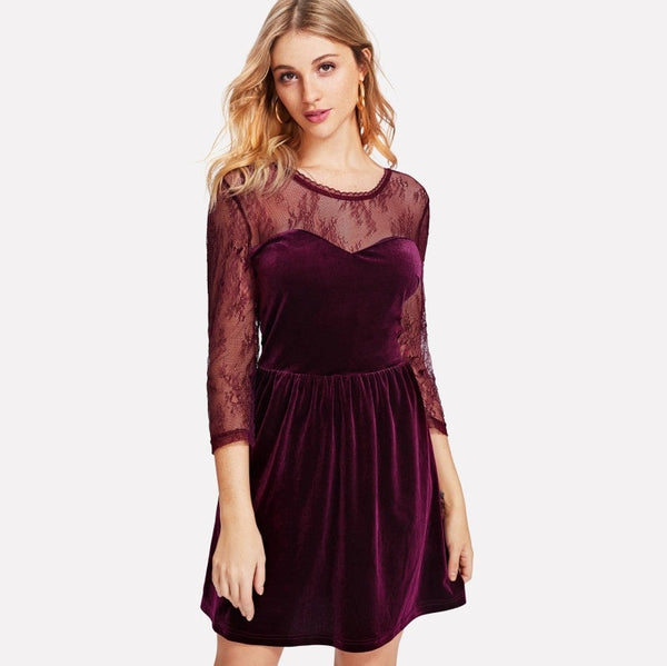 Burgundy Floral Lace Sweetheart Velvet Dress