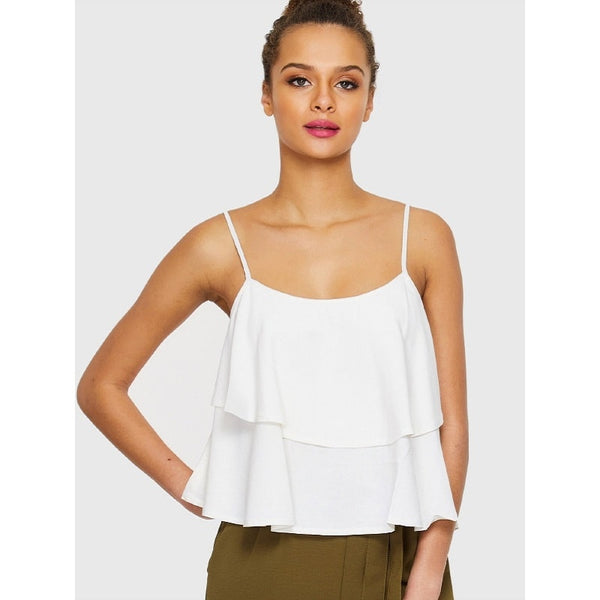 White Double Layered Cami Top