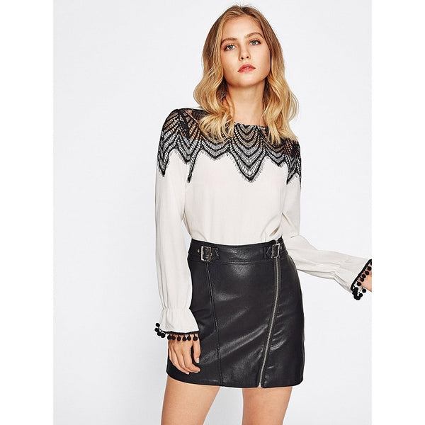 Black and White Contrast Lace York Pom Pom Bell Cuff Top