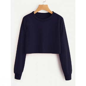 Navy Basic Crop Sweatshirt