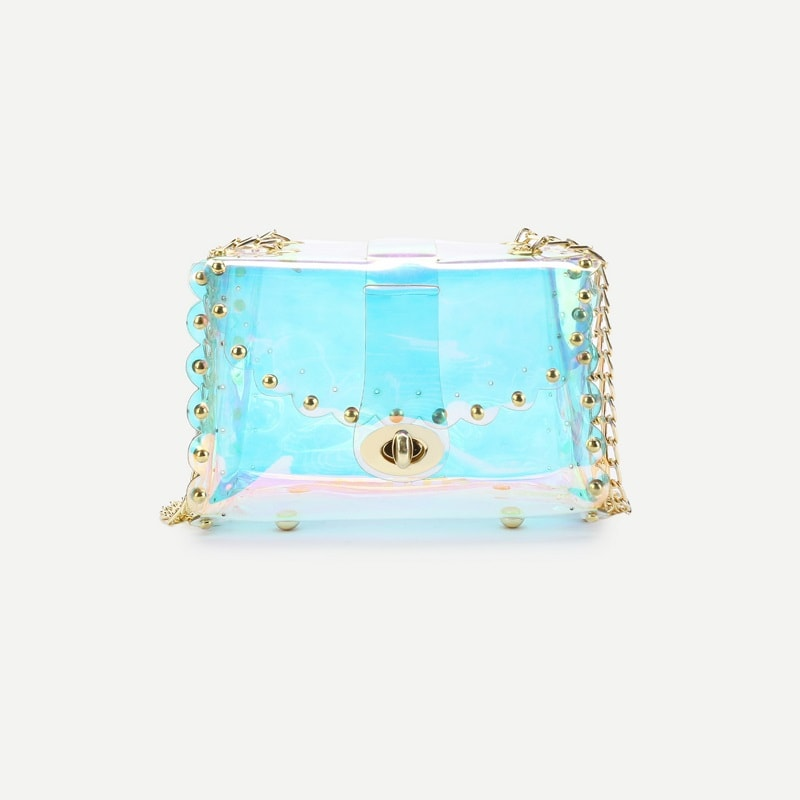 Multicolor Studded Iridescence Chain Bag