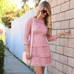 Pink High Neck 3/4 Sleeve Layered Dotted Crochet Dress