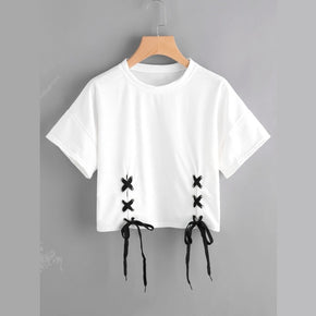 White Double Grommet Lace Up Hem Tee