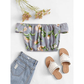 Multicolor Off Shoulder Floral Crop Top