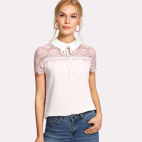 Pink Tie Neck Lace Yoke Top