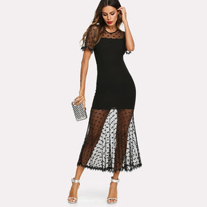 Black Lace Crochet Contrast Trim Mesh Contrast Dress