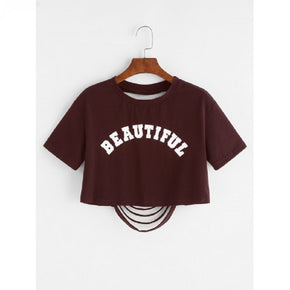 Maroon Letter Print Ripped Back Crop T-shirt