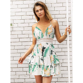 Multicolor Leaves Print Backless Tiered Layer Cami Dress