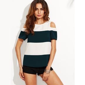 Green White Wide Striped Cold Shoulder Top