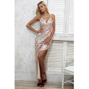 Pink Irregularity Split Skinny Party Dress