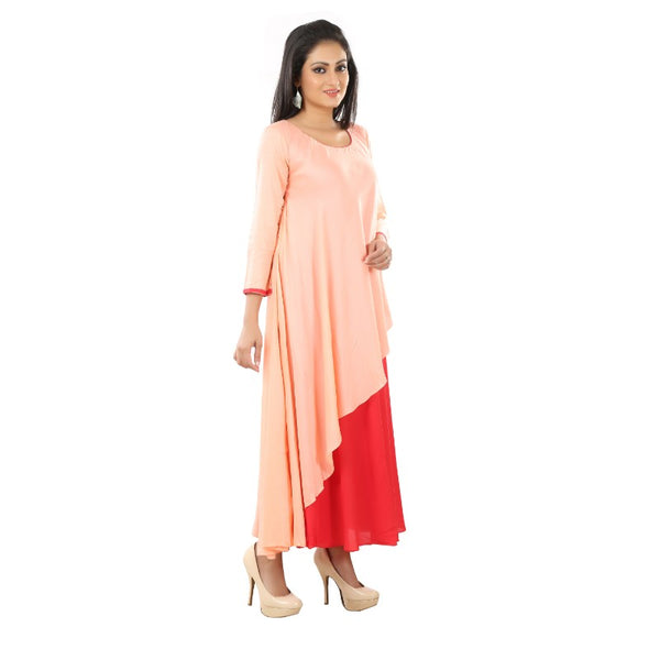 Pink and Red Flare Long Sleeve Kurta.