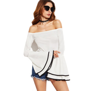 White Contrast Binding Flare Sleeve Off Shoulder Layered Top