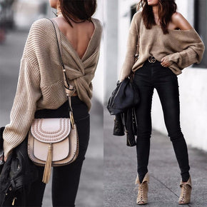 Khaki Simplee V neck sweater