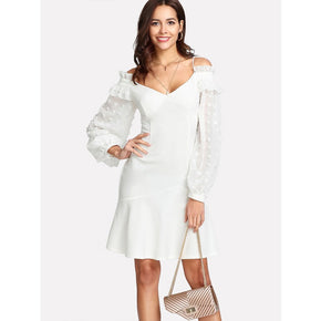 White Cold Shoulder Dot Jacquard Bishop Sleeve Dress