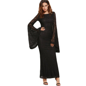 Black Over the Top with Bell Sleeves Floral Lace Dress
