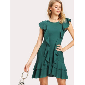 Green Flounce Embellished Tiered Hem Dress
