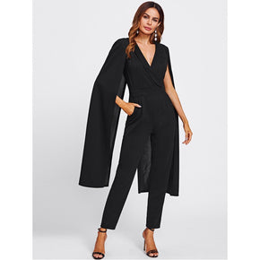 Black Cape Sleeve Surplice Wrap Tailored Jumpsuit