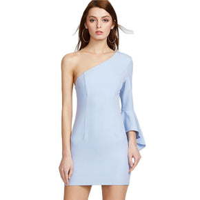 Blue One Shoulder Flare Sleeve Party Dress