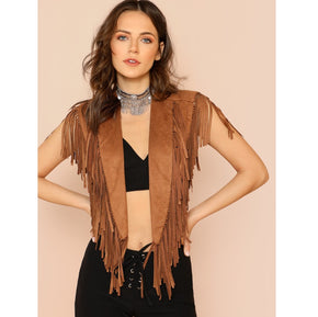 Brown Shawl Collar Crop Fringe Vest
