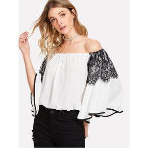 White Lace Detail Contrast Binding Bardot Top
