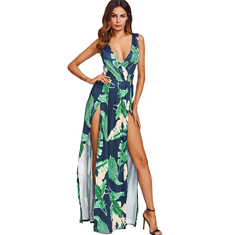 Navy Surplice Neckline Open Back M-Slit Jungle Print Dress