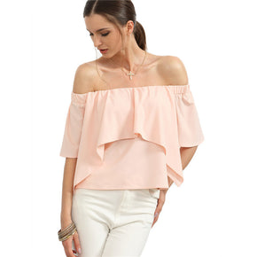 NEW STYLE PINK OFF THE SHOULDER RUFFLE TOP