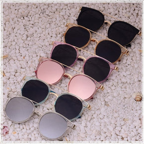 Vintage Alloy Legs Double-Bridge Coating Round Sunglasses