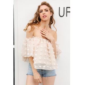 Biege Off Shoulder Chiffon Top With Flare Sleeves